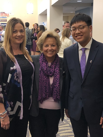 Rhonda Hatfield (Director, National Pancreatic Cancer Foundation), Maureen Shul (CEO, WINGS OF HOPE) and Danny Heo (Intern, Harvard Medical School)