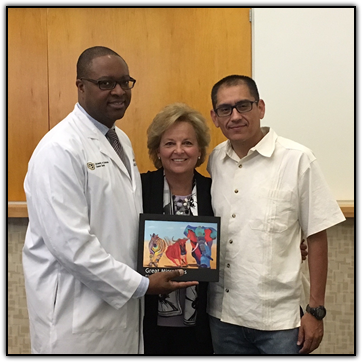 Dr. Colin Weekes, Maureen Shul, local artist and pancreatic cancer survivor Arturo Garcia