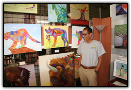 Garcia at a gallery on Santa Fe Drive in Denver where he displays and sells his work.