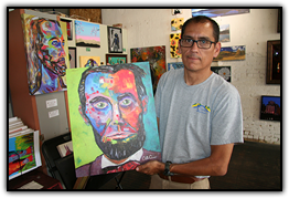 Garcia's interpretation of Abraham Lincoln reflects his return to the vivid colors of his early life.