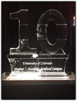 Ice sculpture commemorating 10th Anniversary Donor Dinner