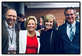 Dan Theodorescu (CU Cancer Center Director), Maureen Shul (founder, WINGS OF HOPE), Linda Michow (Michow, Cox & McAskin), and Dan LaBarbera (WINGS OF HOPE grant recipient)