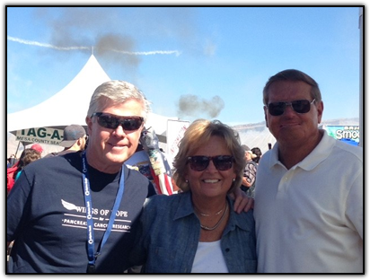WINGS OF HOPE board member and pancreatic cancer survivor JIM COMERFORD, WINGS OF HOPE founder MAUREEN SHUL and SR-71 pilot BRIAN SHUL at the Grand Junction Air Show
